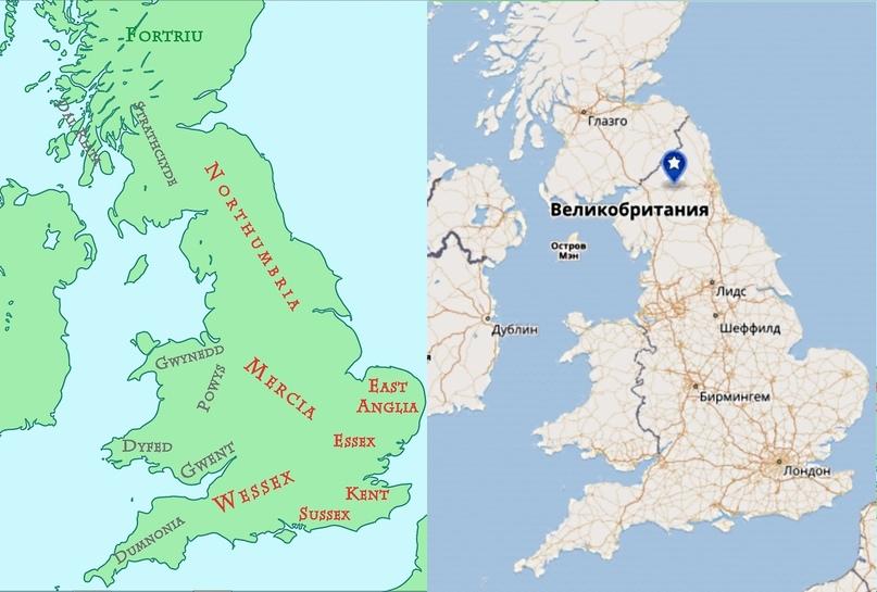 Государство Нортумбрия. Слева современная карта с указанием приблизительного места смерти Рагнара.