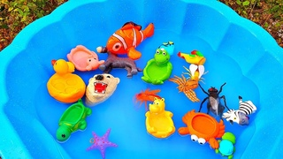 Learn english with Animal toys / elephant, tiger,horse, frog, duck, Polar bear