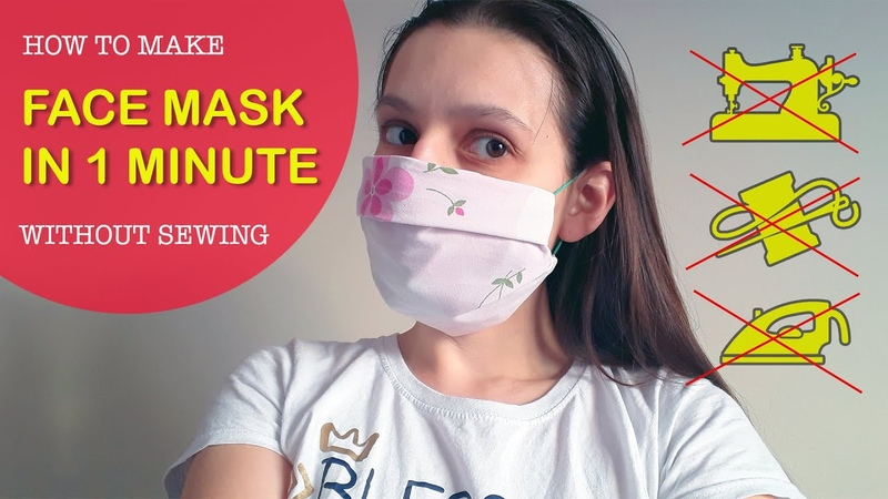 How to make EASY FACE MASK in 1 MINUTE without sewing Universal facemask каксделатьмаску