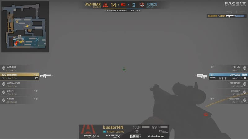 Buster 1vs2 clutch T post plant situation to set AVANGAR on match point