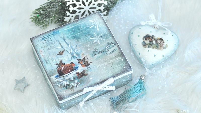 Decoupage świąteczny komplet pudełko i bombka ZESTAW STARTOWY DIY tutorial