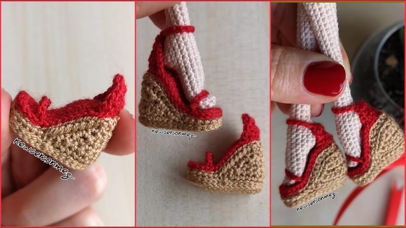Amigurumi Dolgu Topuk Ayakkabı Yapımı (How To Make Amigurumi High Heel Shoes)