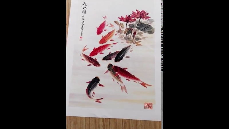 Canvas Wall Art, Traditional Chinese Calligraphy Painting Koi Fish Lotus Canvas Prints