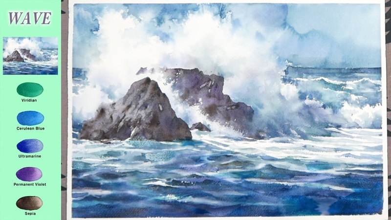 Without Sketch Landscape Watercolor Wave color mixing Arches NAMIL ART