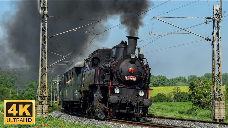 Parní lokomotiva 423 009 Postřižinský expres 25.5.2019 (4K)