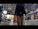 [374] shoe shopping with 8 den pantyhose and micro mini skirt