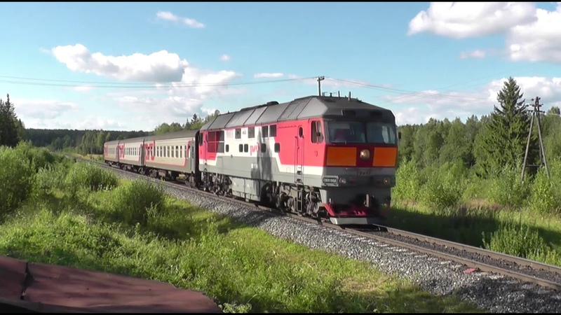 Безбожник Тепловоз ТЭП70 0458 с пригородным поездом Пинюг Киров