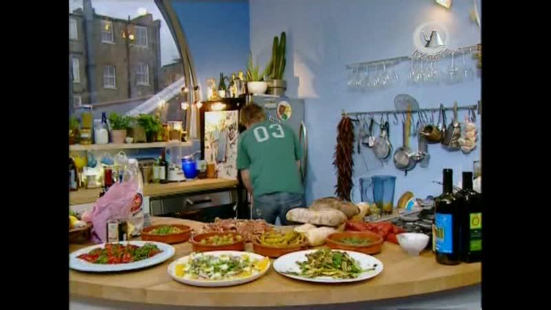 Жить вкусно с Джейми Оливером. 39 серия: тапос по испански (мелкие закуски), салат из апельсинов с луком и сыром, лимонад
