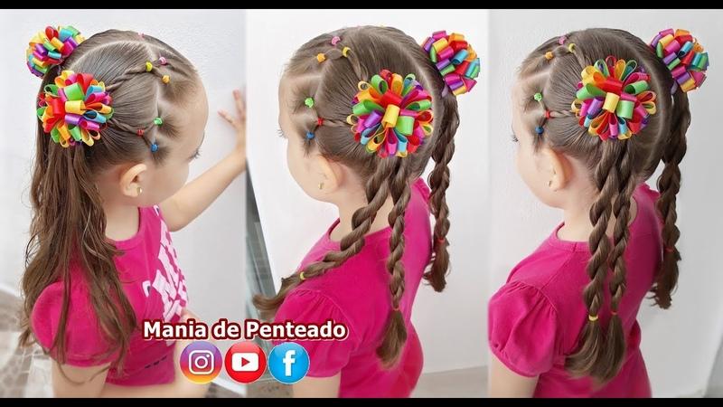 Penteado Infantil Fácil com Ligas e Maria Chiquinha Easy Hairstyle with Elastics and Two Ponytails