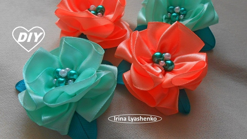 Ribbon Flowers DIY/Flores de cintas/PAP Flores da fita/Цветок из лент217