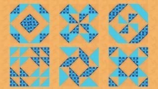 """Лоскутное шитье для начинающих - блок """"Треугольник в полквадрата"""". 4 способа с эскизами (Часть 3)"""