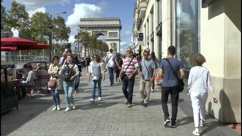Walk around Paris France. Bastille Rivoli Louvre Arc de Triomphe.