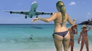 Airpoirt St Maarten jet blast ✱ Amazing Plane landing and Takeoff - Airbus vs Boeing