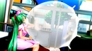 Anime nurse blow to pop big latex glove balloon