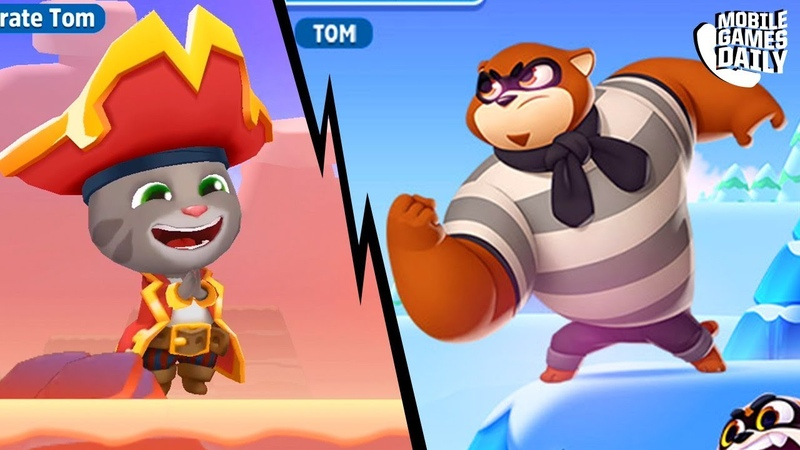 TALKING TOM SPLASH FORCE Pirate Tom VS Racoon Boss Tom Hero Dash Tom Gold Run