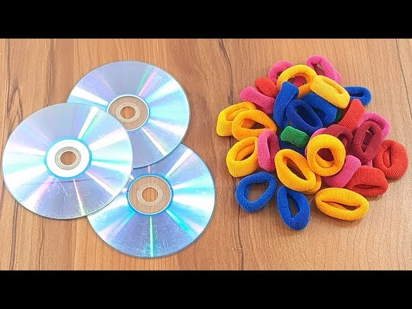 Hair rubber bands Waste cd disc reuse idea | Home decorating | best out of waste
