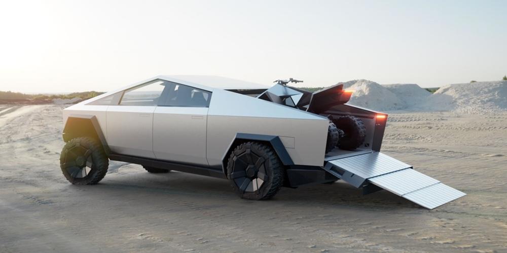 Tesla Cybertruck способен перевозить электрический мотоцикл или квадроцикл