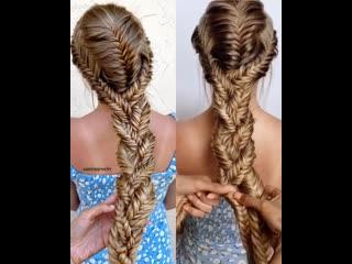 Интересное плетение из нескольких кос