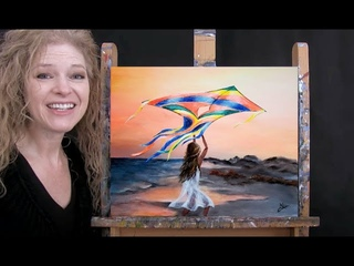 Learn How to Paint BEACH FLIGHT KITE with Acrylic - Paint and Sip at Home - Step by Step Tutorial