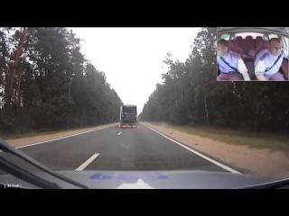 Еще одно видео преследования пьяного водителя-дальнобойщика (регистратор другого автомобиля)