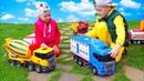 Веселые истории про Машинки Bruder Трактор Застрял Алекс и машинки едут на помощь