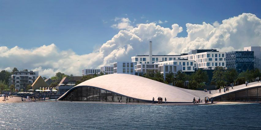 Haptic unveils plans for domed aquarium on former airport site in Oslo