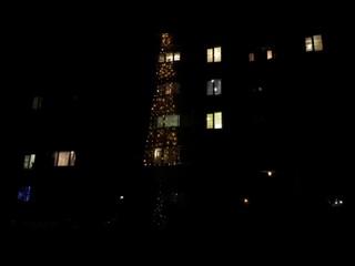 Гирлянду на шесть этажей повесили жителей посёлка КСК в Чите