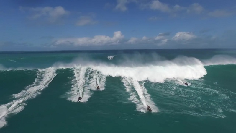 Jet Skis Run From Wave Eddie Aikau 2016 HD drone