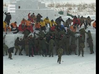 Казаки штурмуют снежный городок, с.Сухобузимское, 2018