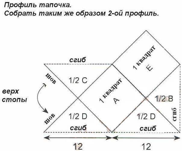 Тапочки из квадратов (мастер-класс)