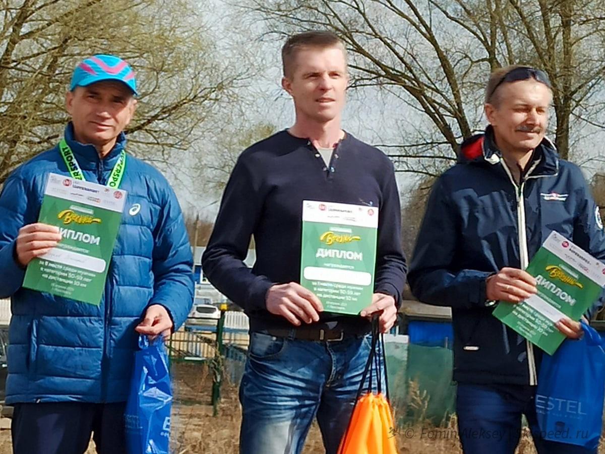 Победители и призёры мужчин 50-59 лет на 10 км Притяжение весны 2021 (Ярославль)