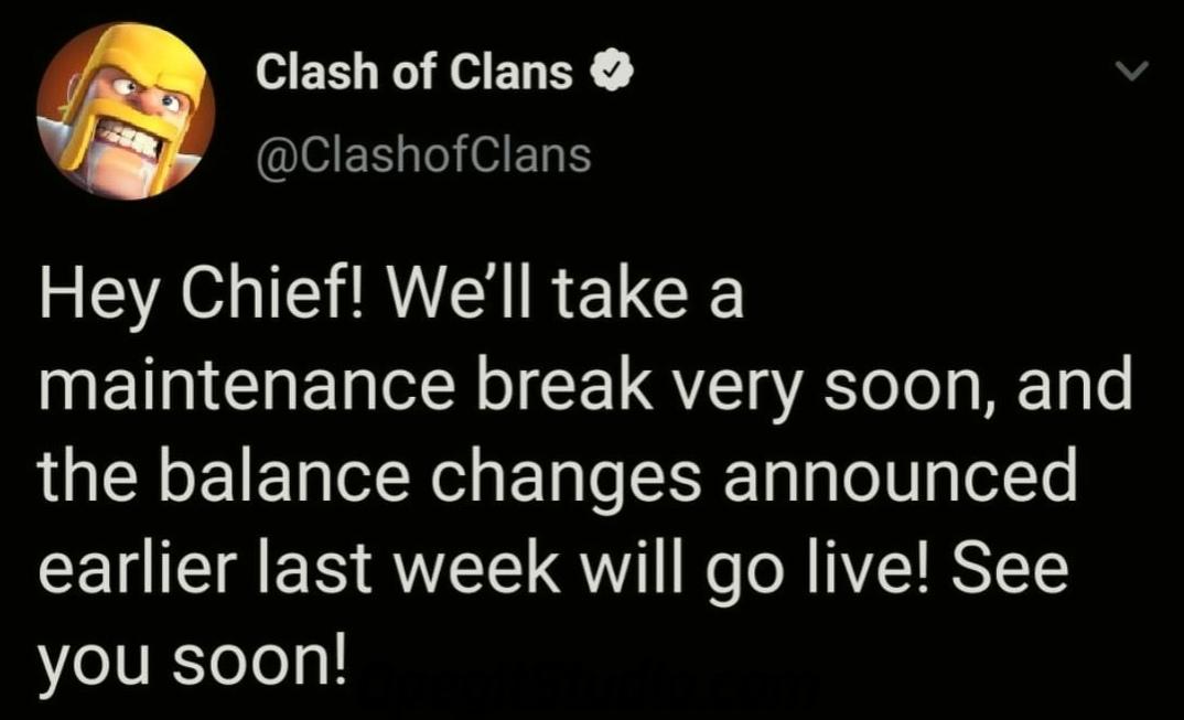 Тех. перерыв в Clash of Clans, вводят те