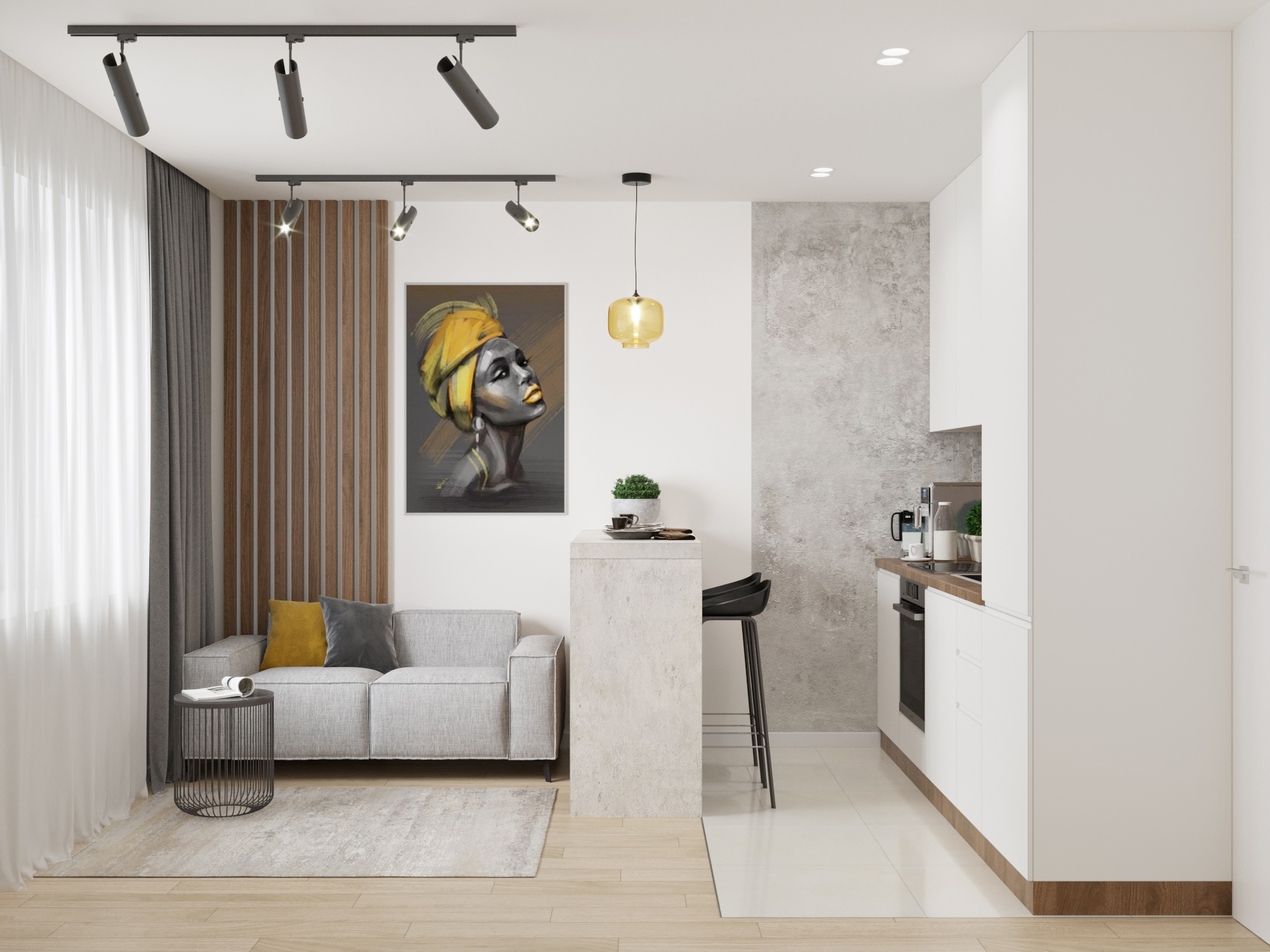 Интерьер кухни-гостиной 15 кв.