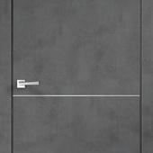 Дверное полотно TECHNO М1  горизонт молдинг Экошпон с замком 1895 и алюминиевой кромкой Муар темно-с