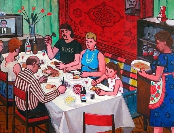 Тарелка борща с хлебом после уроков, семейные заст...