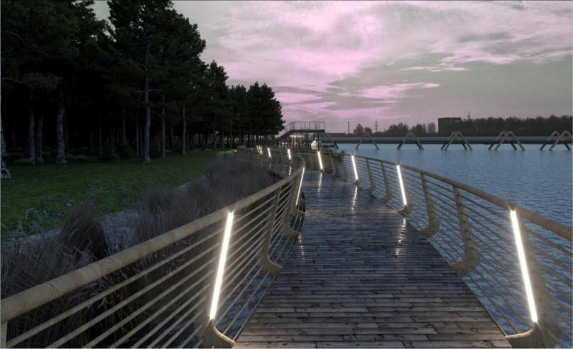 Пешеходная зона над водой (3d-модель из эскизного проекта)