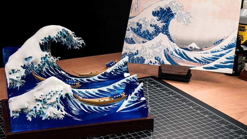 🌊 The Great Wave off Kanagawa with resin Hokusai not godzilla