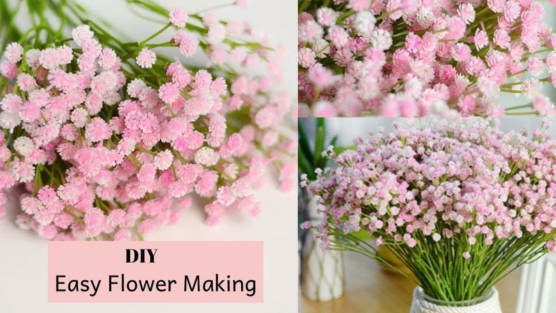 DIY Baby Breath Paper Flower Making How to Make Tiny Bunches Of Flowers By Aloha Crafts