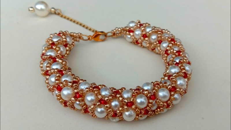 How To MakeTubular Netted Pearl BraceletBeading Tutorial Useful Easy
