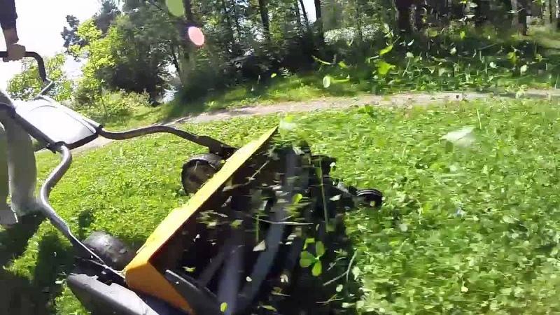 Fiskars Staysharp Reel Mower in Action GoPro Hero3 slow motion