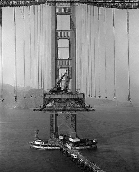 Процесс строительства моста Золотые Ворота. Сан-Франциско.США.