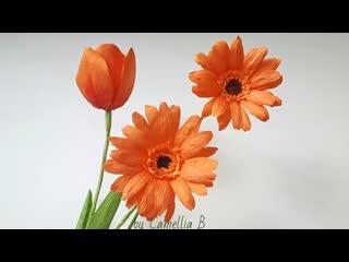 DIY - Paper Orange Gerbera Daisy flower from crepe paper - Naranja Gerbera Daisy flor de papel crepé