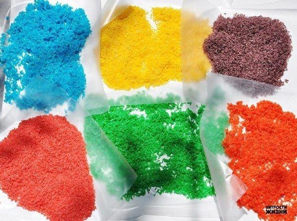 Как сделать цветной рис для творчества Сохраняй себе, чтоб не потерять
