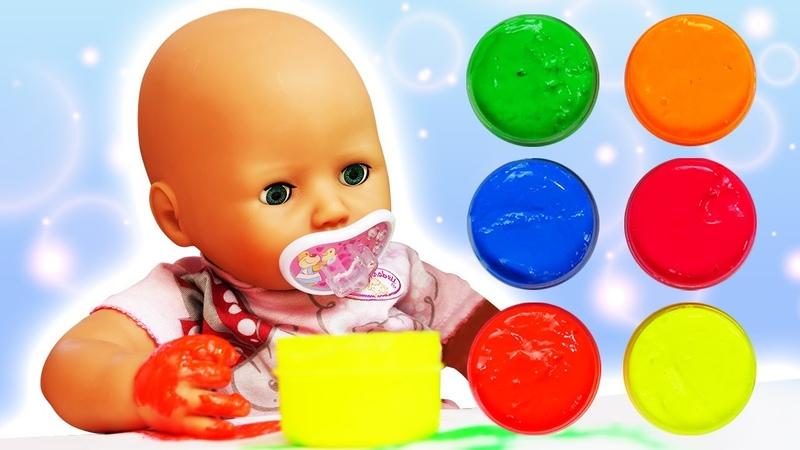 Видео куклы БЕБИ БОН Рисуем красками с Беби Анабель Как Мама для Baby Born Мультики для детей