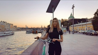 🚵♀️ Cycling: with Lisa along the central embankment of Moscow on the sunset, the Kremlin, Luzhniki
